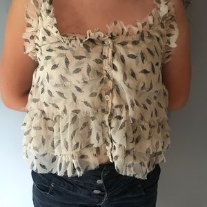 pins and needles feather halter top